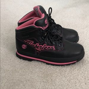 Timberland Euro Hikers Pink&Black Boots